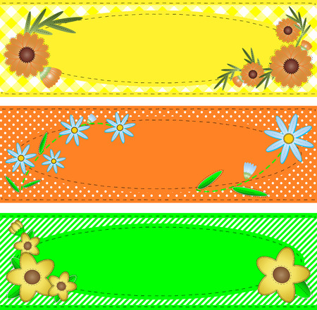oval copy space designs in yellow, orange and green trimmed with flowers, stripes, polka dots, gingham, containing quilting stitch accents. Illustration