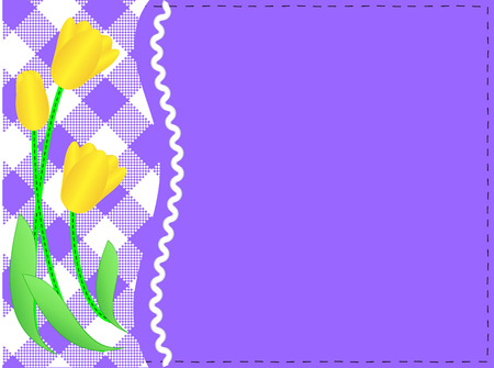 eps10 purple copy space with a side white gingham and ric rac trim below yellow tulips accented with quilting stitches. Stock Vector - 6882184