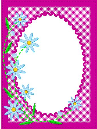 Jpg white oval copy space trimmed in ric rac on top of a pink gingham background trimmed with blue cornflowers containing quilting stitches.