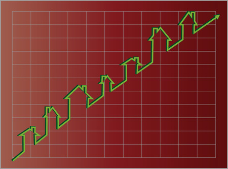 Red housing graph with an upward projection using a green line of little houses. Stock Vector - 7005308