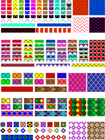 5 Different swatch patterns in multiple colors ready to drag and drop in your swatches or brush pallet, which are easily editable to the colors you would want.  Examples of fills and line brushes are also shown.