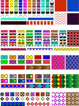 Quieren que 5 de diferentes muestras patrones, en varios colores listos para arrastrar y colocar en sus muestras o paletas de pincel, le que son fácilmente editables a los colores.  También se muestran ejemplos de rellenos y pinceles de línea.