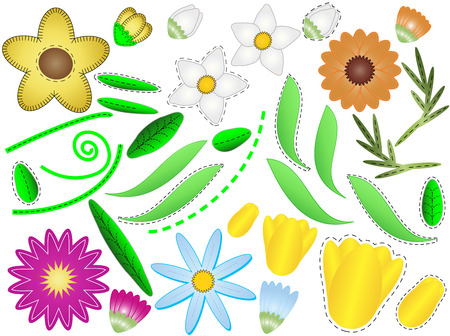 various simple flowers, buds and leaves  with quilting stitches that you can assemble any way you want. Vector