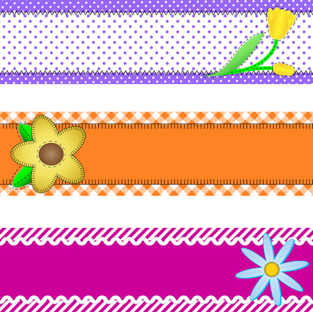 Three banners or borders of stripes, polka dots, or gingham with flowers, accent quilt stitches and plenty of copy space. Vector