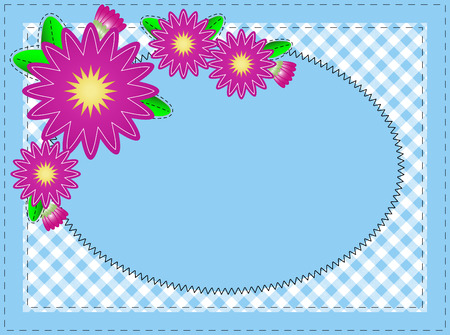 Oval Blue Copy Space, with Stitching, Zinnias and Gingham Vector