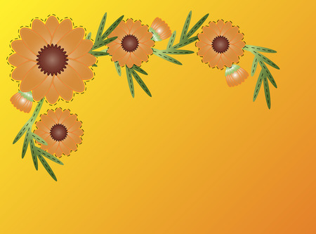 Orange zinnia or mum flower border on yellow blend to orange copy space.