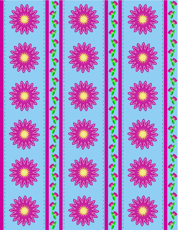 Blue wallpaper background with pink mums or zinnias accented by pink stripes and quilting stitches. Illustration