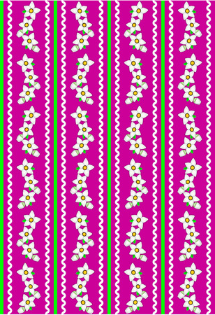 rick:    Pink wallpaper background with white daisies accented by green stripes, white rick rac and quilting stitches.