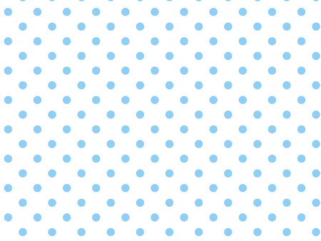 White background with blue polka dots.