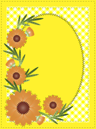 Yellow oval copy space with gingham and orange flowers border or frame. (eps10) Vettoriali