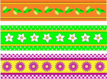 Three Flower Borders with dots, gingham and quilting stitches (eps10) Vector