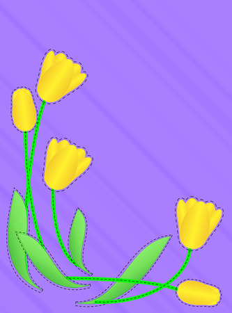 Purple copy space with a border of yellow tulips accented with quilting stitches (eps10)