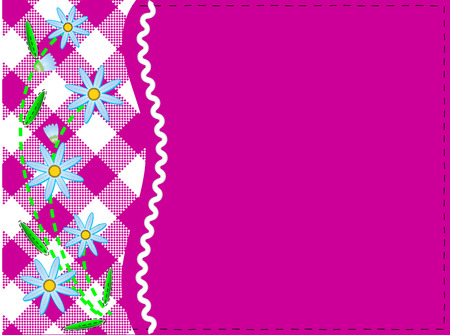 Pink copy space with gingham and ric rac trim topped with blue cornflowers and quilting stitches (eps8)