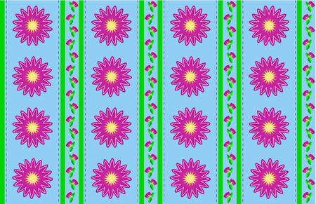 Blue wallpaper background with pink mums or zinnias accented by green stripes and quilting stitches. (eps10)