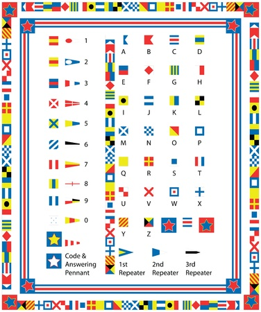 seafaring:  Complete Set of nautical flags and borders including drag and drop items for fills and brushes  Illustration