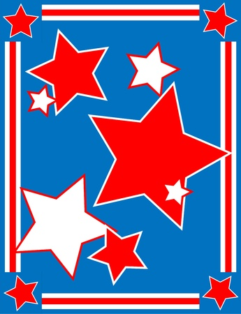 back ground:  Red, White and blue patriotic star background with a striped border