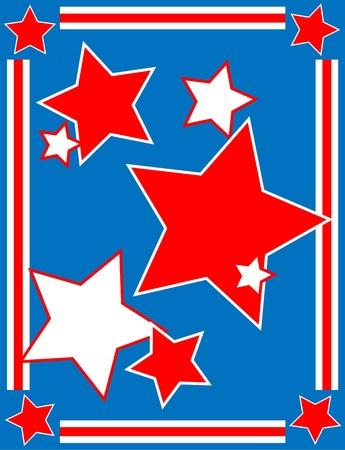 patriotic border: Rojo, blanco y azul de fondo estrella patri�tica con un borde de rayas Vectores
