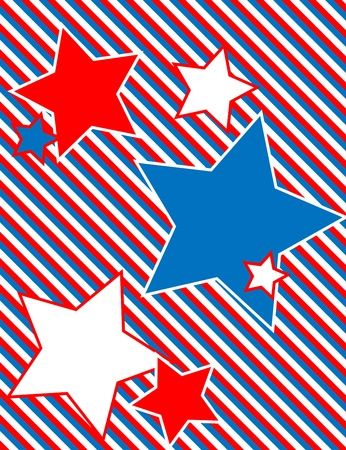 Red, White and blue patriotic star background with a striped background  Vector