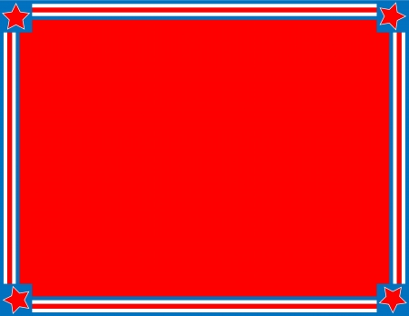 Red, White and blue patriotic frame or border with a striped and star background with copy space