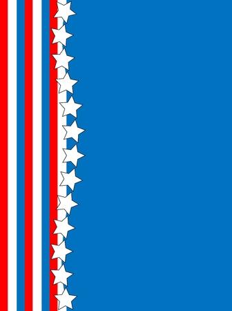 복사본 공간 스트라이프와 스타 배경, 흰색 빨간색과 파란색 애국 프레임 또는 테두리