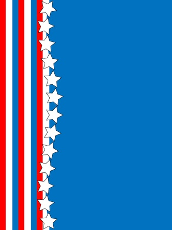 Red, telaio bianco e blu patriottico o confine con uno sfondo a righe e stelle con copia spazio
