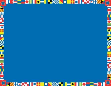 Rot, weiß und blau nautischen Flaggen Rand oder Rahmen Standard-Bild - 13092497