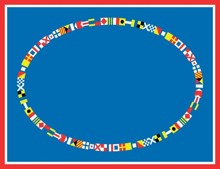 seafaring: oval red, white and blue nautical flags border or frame  Illustration