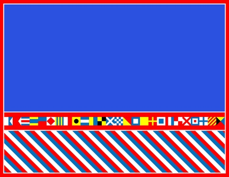 red, white and blue nautical flags border or frame
