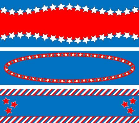 3 레드, 화이트, 별, 줄무늬 및 복사 공간 애국 프레임 또는 테두리 배경 블루