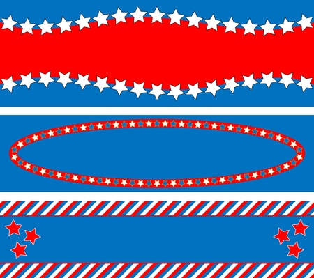 3 Red, White and blue patriotic frames or border backgrounds with stars, stripes and copy space  Vector