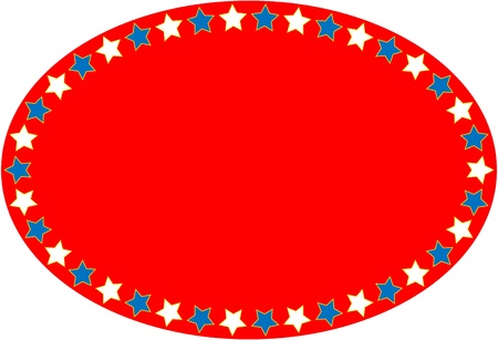 Oval red, white and blue background with copy space  Stock Illustratie