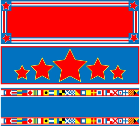 patriotic border: 3 red, white and blue headers with copy space and nautical flags