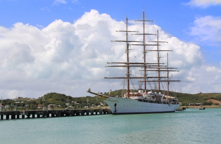 antigua: Large sailing ship docked in St  Johns Harbour in Antigua Barbuda