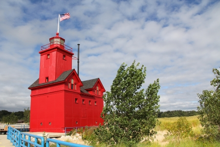 lakeview: Big Red Lighthouse on the beach in Holland Michigan with copy space  Stock Photo