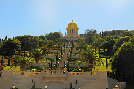 monotheism: Beautiful Shrine of Bab and its gardens on Mount Carmel in Haifa, Israel.  Associated with Bahaullah and the Bahai faith.  Burial place of Bab. Stock Photo