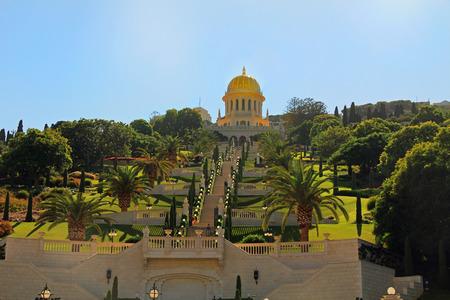 bahaullah: Beautiful Shrine of Bab and its gardens on Mount Carmel in Haifa, Israel.  Associated with Bahaullah and the Bahai faith.  Burial place of Bab. Stock Photo