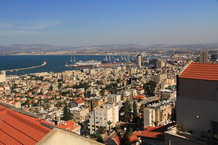 Panoramic view of the Mediterranean seaport of Haifa Israel. photo
