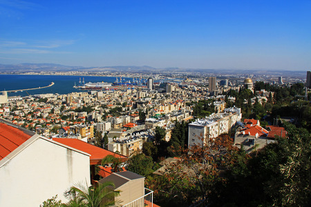 Panoramic view of the Mediterranean seaport of Haifa Israel with the Shrine of Bab. photo