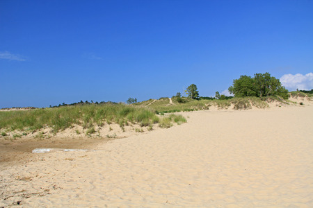 sunshine state: Sand dunes in Ludington State Park on the shore of Lake Michigan in Michigan, USA. Stock Photo