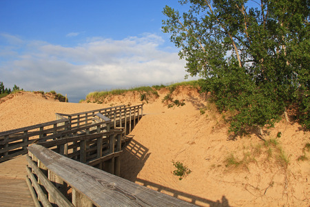 Boardwalk bridge on the Sand dunes in Sleeping Bear National Park, Michigan, USA. photo