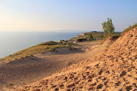 Sand dunes in Sleeping Bear National Park, along Lake Michigan in Michigan, USA. photo