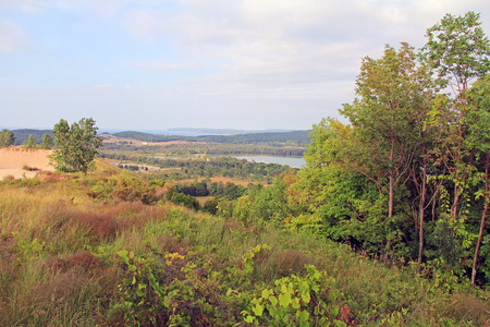 A view of Glen Lake from the sand dunes in Sleeping Bear National Park, Michigan, USA. photo