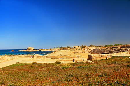 Hippodrome  ruins in Caesarea Maritima National Park, a city and harbor built by Herod the Great about 25-13 BC. The archaeological ruins are on the Mediterranean coast of Israel and it was the administrative capital. photo