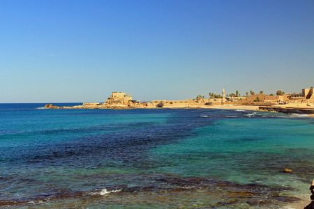 caesarea: Ruins in Caesarea Maritima National Park, a city and harbor built by Herod the Great about 25-13 BC. The archaeological ruins are on the Mediterranean coast of Israel and it was the administrative capital.