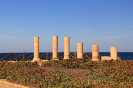 promontory: Column ruins of Herods Promontory palace in Caesarea Maritima National Park, a city and harbor built by Herod the Great about 25-13 BC. The archaeological ruins are on the Mediterranean coast of Israel and it was the administrative capital.