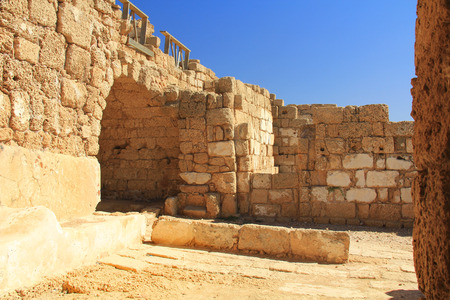 greco roman  roman: Warehouse Ruins in Caesarea Maritima National Park, a city and harbor built by Herod the Great about 25-13 BC. The archaeological ruins are on the Mediterranean coast of Israel and it was the administrative capital.