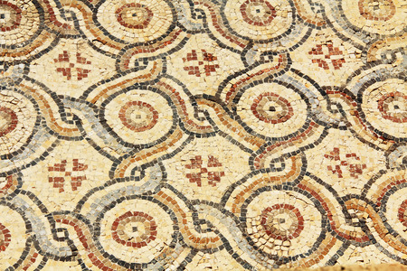 greco roman: Mosaic tile floor ruins in Caesarea Maritima National Park, a city and harbor built by Herod the Great about 25-13 BC. The archaeological ruins are on the Mediterranean coast of Israel and it was the administrative capital.