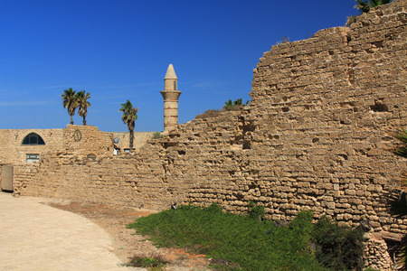 greco roman  roman: Minaret and ruins in Caesarea Maritima National Park, a city and harbor built by Herod the Great about 25-13 BC. The archaeological ruins are on the Mediterranean coast of Israel and it was the administrative capital.