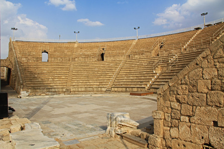 amphitheater: Caesarea, ISRAEL ? October 2013:  A Public Park-- Caesarea Maritima National Park, a city and harbor built by Herod the Great about 25-13 BC. The archaeological ruins are on the Mediterranean coast of Israel and is a popular tourist attraction. Editorial