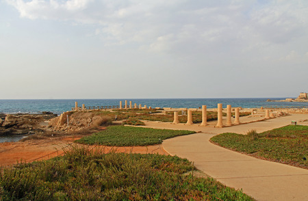 greco roman  roman: Ruins of Herods promontory palace in Caesarea Maritima National Park, a city and harbor built by Herod the Great about 25-13 BC. The archaeological ruins are on the Mediterranean coast of Israel and it was the administrative capital.